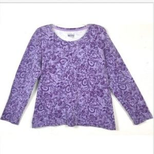 Basic Edition Womens Size 1X Purple Floral Top